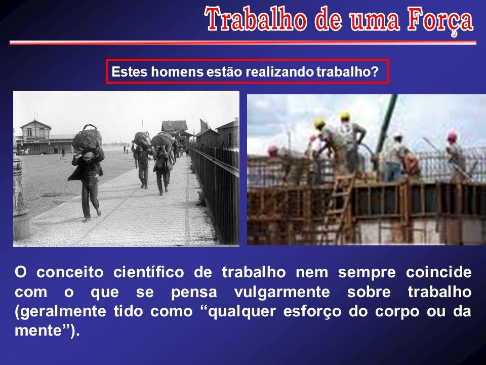 Estes homens estão realizando trabalho? O conceito científico de trabalho nem sempre coincide com o que se pensa vulgarmente sobre trabalho (geralment