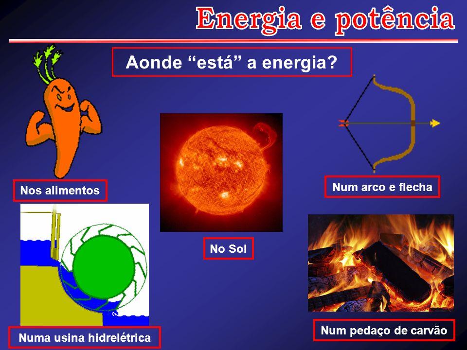 Aonde está a energia? Numa usina hidrelétrica Num pedaço de carvão Nos alimentos No Sol Num arco e flecha