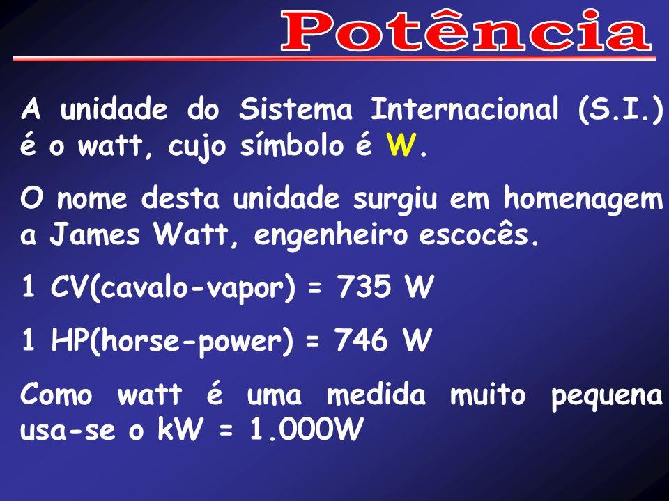 A unidade do Sistema Internacional (S.I.) é o watt, cujo símbolo é W. O nome desta unidade surgiu em homenagem a James Watt, engenheiro escocês. 1 CV(