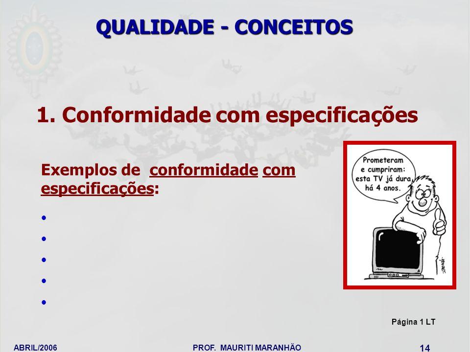 ABRIL/2006PROF. MAURITI MARANHÃO 14 1. Conformidade com especificações QUALIDADE - CONCEITOS Exemplos de conformidade com especificações: Página 1 LT