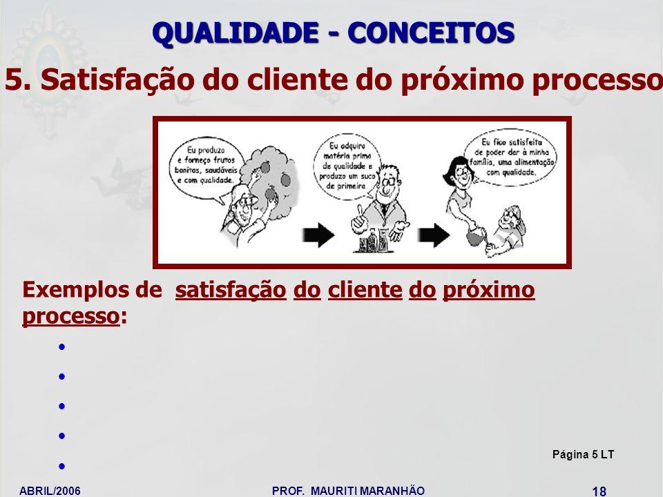ABRIL/2006PROF. MAURITI MARANHÃO 18 Exemplos de satisfação do cliente do próximo processo: 5. Satisfação do cliente do próximo processo QUALIDADE - CO