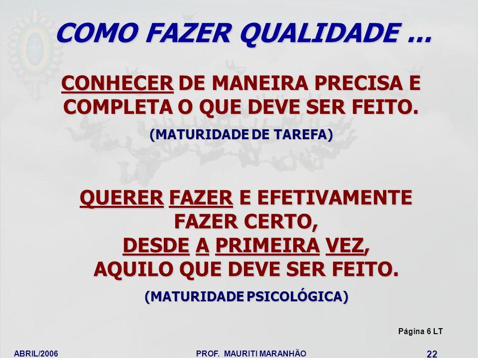 ABRIL/2006PROF. MAURITI MARANHÃO 22 CONHECER DE MANEIRA PRECISA E COMPLETA O QUE DEVE SER FEITO. (MATURIDADE DE TAREFA) QUERER FAZER E EFETIVAMENTE FA