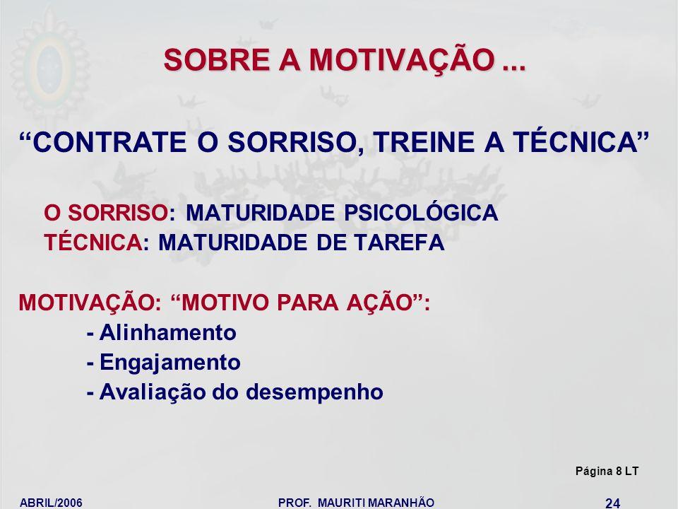 ABRIL/2006PROF. MAURITI MARANHÃO 24 SOBRE A MOTIVAÇÃO... CONTRATE O SORRISO, TREINE A TÉCNICA O SORRISO: MATURIDADE PSICOLÓGICA TÉCNICA: MATURIDADE DE