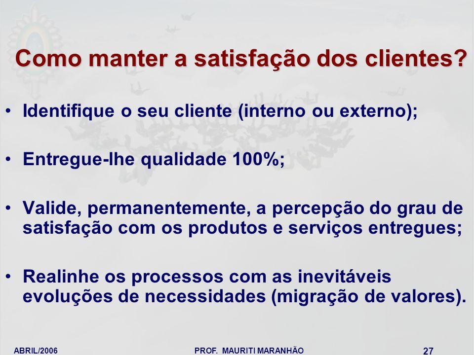 ABRIL/2006PROF. MAURITI MARANHÃO 27 Como manter a satisfação dos clientes? Identifique o seu cliente (interno ou externo); Entregue-lhe qualidade 100%