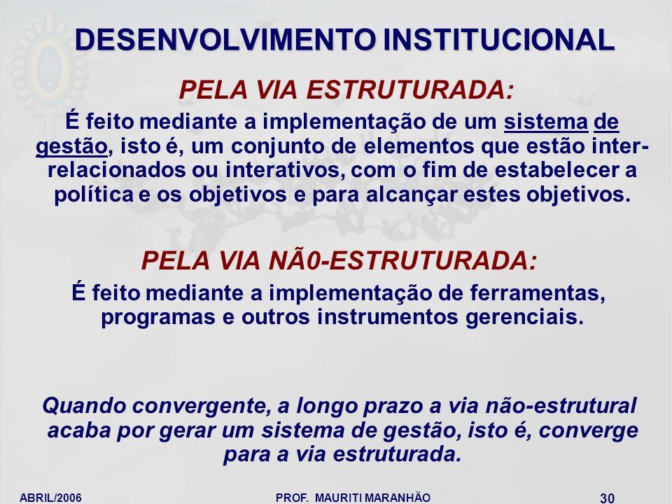 ABRIL/2006PROF. MAURITI MARANHÃO 30 DESENVOLVIMENTO INSTITUCIONAL PELA VIA ESTRUTURADA: É feito mediante a implementação de um sistema de gestão, isto