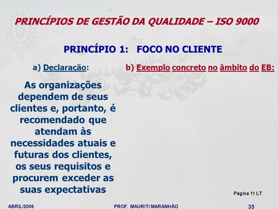 ABRIL/2006PROF. MAURITI MARANHÃO 35 PRINCÍPIOS DE GESTÃO DA QUALIDADE – ISO 9000 PRINCÍPIO 1: FOCO NO CLIENTE As organizações dependem de seus cliente