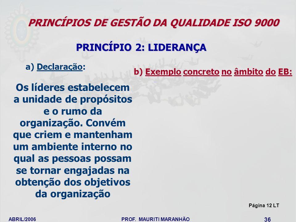 ABRIL/2006PROF. MAURITI MARANHÃO 36 PRINCÍPIOS DE GESTÃO DA QUALIDADE ISO 9000 PRINCÍPIO 2: LIDERANÇA Os líderes estabelecem a unidade de propósitos e