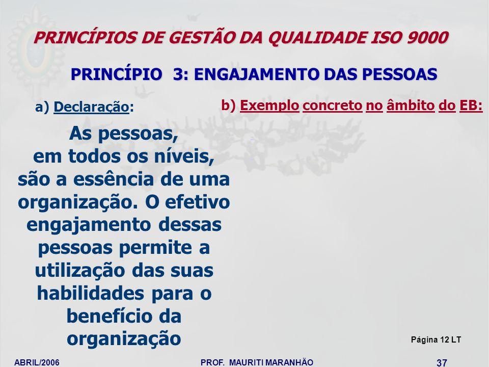 ABRIL/2006PROF. MAURITI MARANHÃO 37 PRINCÍPIOS DE GESTÃO DA QUALIDADE ISO 9000 PRINCÍPIO 3: ENGAJAMENTO DAS PESSOAS As pessoas, em todos os níveis, sã