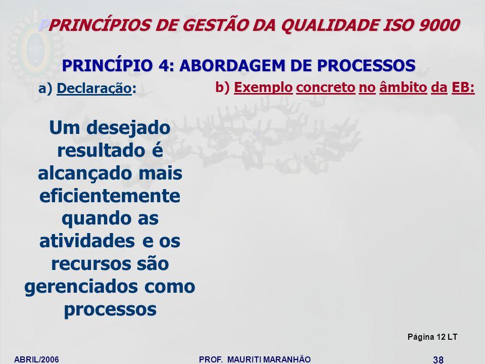 ABRIL/2006PROF. MAURITI MARANHÃO 38 PPRINCÍPIOS DE GESTÃO DA QUALIDADE ISO 9000 PRINCÍPIO 4: ABORDAGEM DE PROCESSOS Um desejado resultado é alcançado