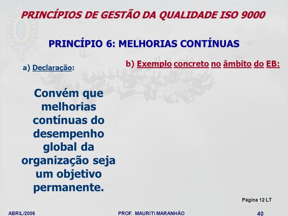 ABRIL/2006PROF. MAURITI MARANHÃO 40 PRINCÍPIOS DE GESTÃO DA QUALIDADE ISO 9000 PRINCÍPIO 6: MELHORIAS CONTÍNUAS Convém que melhorias contínuas do dese