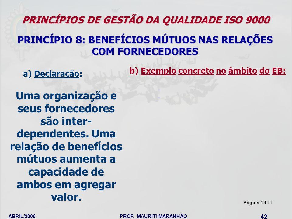 ABRIL/2006PROF. MAURITI MARANHÃO 42 PRINCÍPIOS DE GESTÃO DA QUALIDADE ISO 9000 PRINCÍPIO 8: BENEFÍCIOS MÚTUOS NAS RELAÇÕES COM FORNECEDORES Uma organi