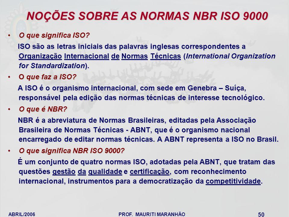 ABRIL/2006PROF. MAURITI MARANHÃO 50 NOÇÕES SOBRE AS NORMAS NBR ISO 9000 O que significa ISO?O que significa ISO? ISO são as letras iniciais das palavr