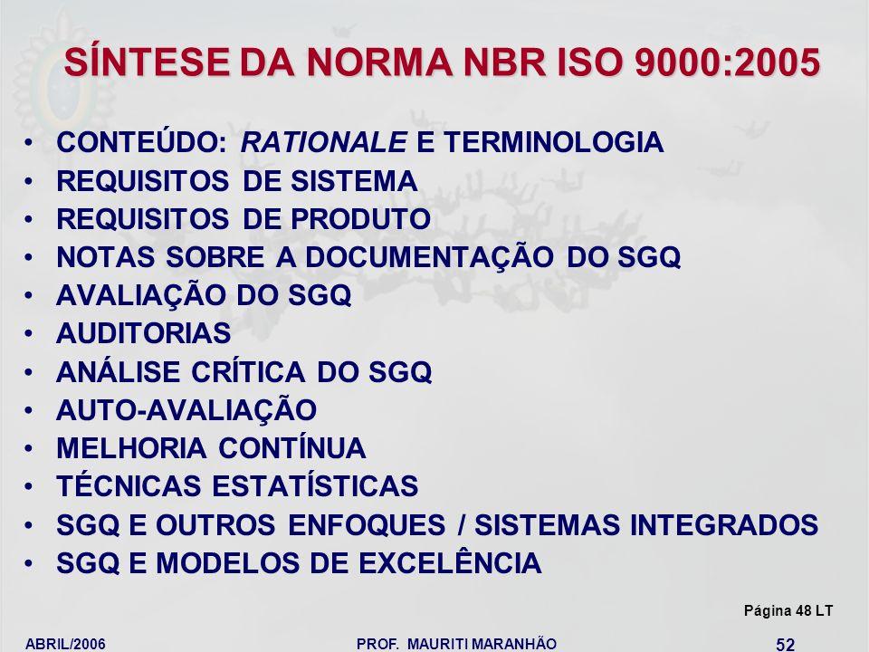 ABRIL/2006PROF. MAURITI MARANHÃO 52 SÍNTESE DA NORMA NBR ISO 9000:2005 CONTEÚDO: RATIONALE E TERMINOLOGIA REQUISITOS DE SISTEMA REQUISITOS DE PRODUTO
