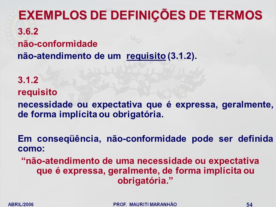 ABRIL/2006PROF. MAURITI MARANHÃO 54 EXEMPLOS DE DEFINIÇÕES DE TERMOS 3.6.2 não-conformidade não-atendimento de um requisito (3.1.2). 3.1.2 requisito n