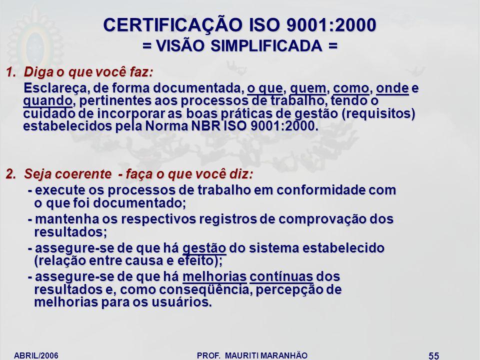 ABRIL/2006PROF. MAURITI MARANHÃO 55 CERTIFICAÇÃO ISO 9001:2000 = VISÃO SIMPLIFICADA = 1. Diga o que você faz: Esclareça, de forma documentada, o que,