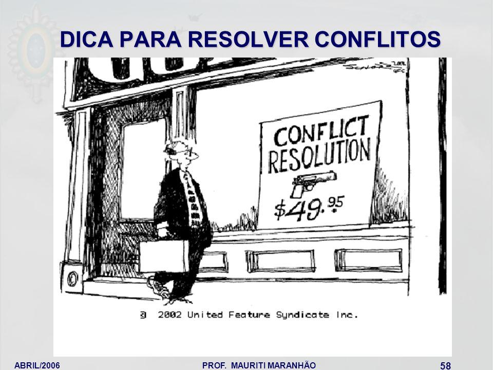 ABRIL/2006PROF. MAURITI MARANHÃO 58 DICA PARA RESOLVER CONFLITOS