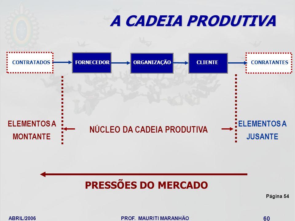 ABRIL/2006PROF. MAURITI MARANHÃO 60 A CADEIA PRODUTIVA NÚCLEO DA CADEIA PRODUTIVA ELEMENTOS A JUSANTE ELEMENTOS A MONTANTE PRESSÕES DO MERCADO FORNECE