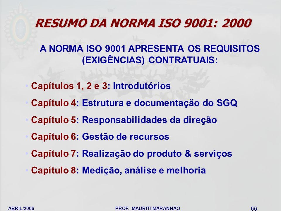 ABRIL/2006PROF. MAURITI MARANHÃO 66 A NORMA ISO 9001 APRESENTA OS REQUISITOS (EXIGÊNCIAS) CONTRATUAIS: Capítulos 1, 2 e 3: Introdutórios Capítulo 4: E