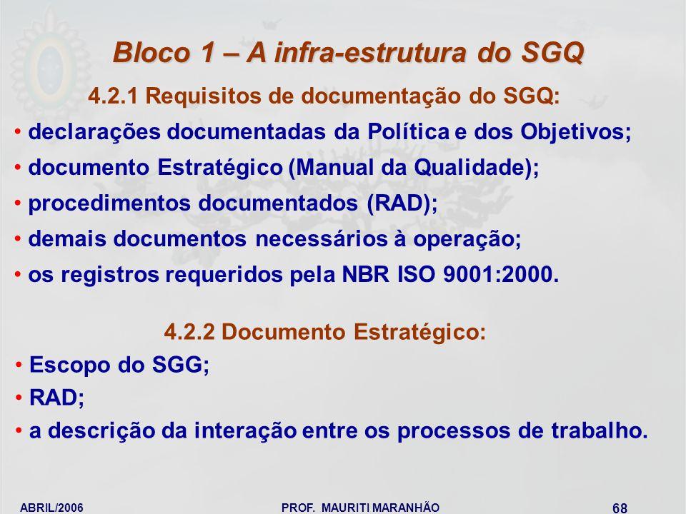 ABRIL/2006PROF. MAURITI MARANHÃO 68 4.2.1 Requisitos de documentação do SGQ: declarações documentadas da Política e dos Objetivos; documento Estratégi