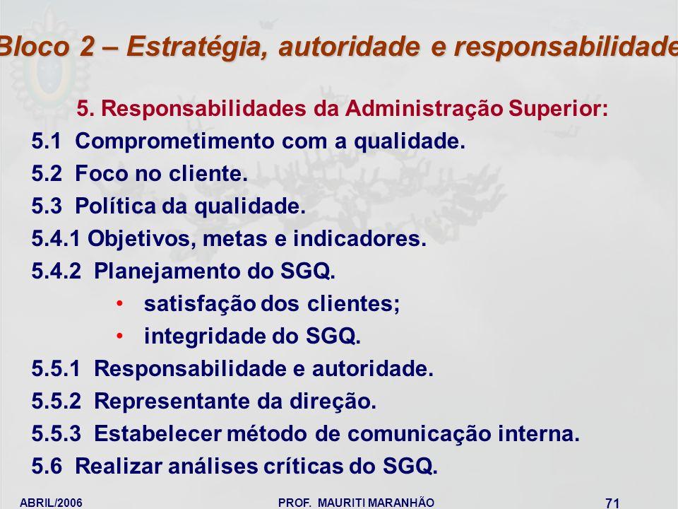 ABRIL/2006PROF. MAURITI MARANHÃO 71 5. Responsabilidades da Administração Superior: 5.1 Comprometimento com a qualidade. 5.2 Foco no cliente. 5.3 Polí