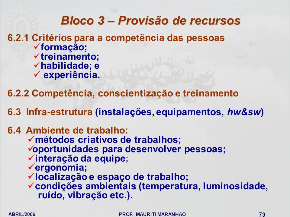 ABRIL/2006PROF. MAURITI MARANHÃO 73 6.2.1 Critérios para a competëncia das pessoas formação; treinamento; habilidade; e experiência. 6.2.2 Competência