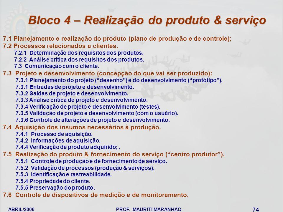ABRIL/2006PROF. MAURITI MARANHÃO 74 7.1 Planejamento e realização do produto (plano de produção e de controle); 7.2 Processos relacionados a clientes.