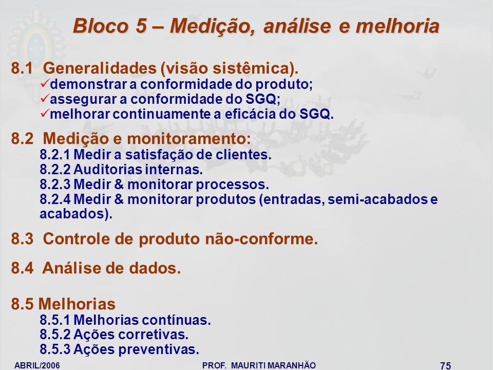 ABRIL/2006PROF. MAURITI MARANHÃO 75 8.1 Generalidades (visão sistêmica). demonstrar a conformidade do produto; assegurar a conformidade do SGQ; melhor