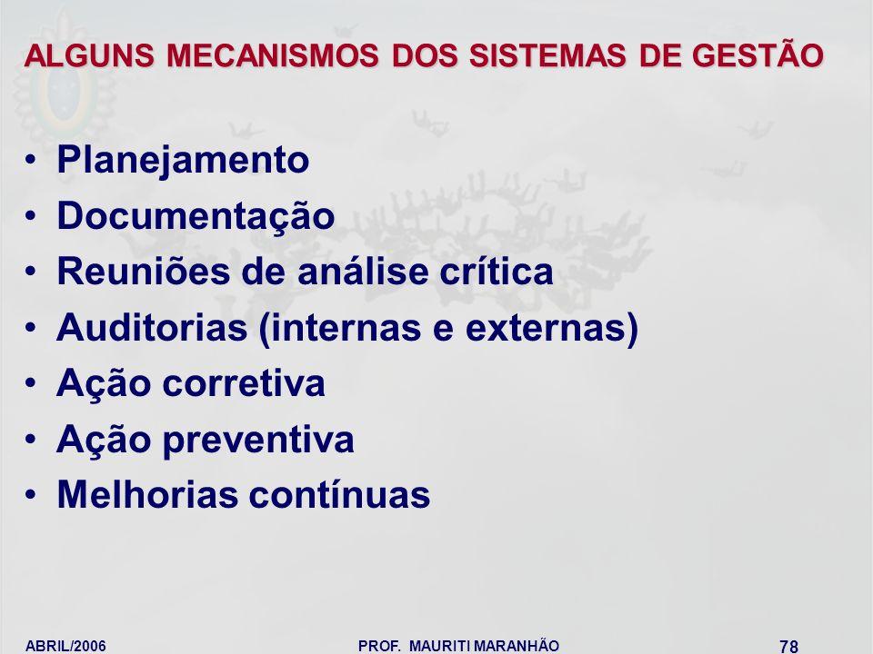 ABRIL/2006PROF. MAURITI MARANHÃO 78 ALGUNS MECANISMOS DOS SISTEMAS DE GESTÃO Planejamento Documentação Reuniões de análise crítica Auditorias (interna