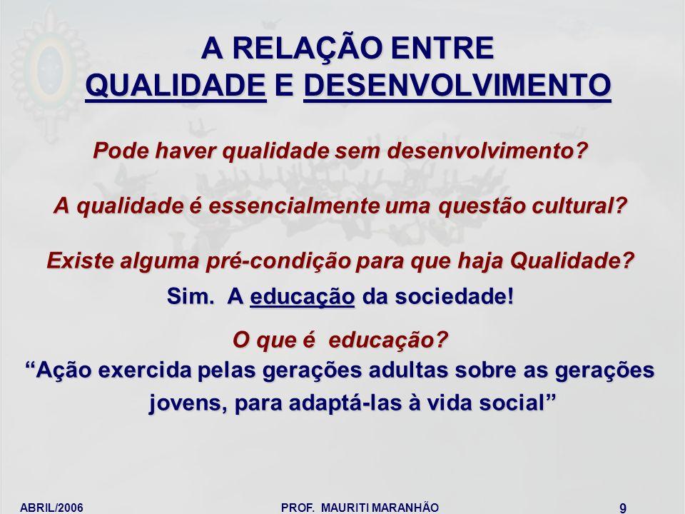 ABRIL/2006PROF. MAURITI MARANHÃO 9 A RELAÇÃO ENTRE QUALIDADE E DESENVOLVIMENTO Pode haver qualidade sem desenvolvimento? A qualidade é essencialmente