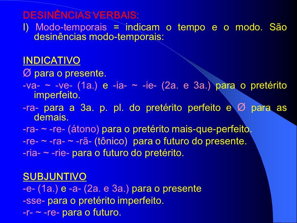 DESINÊNCIAS: É a terminação das palavras, flexionadas ou variáveis, posposta ao radical, com o intuito de modificá-las. Modificamos os verbos, conjuga