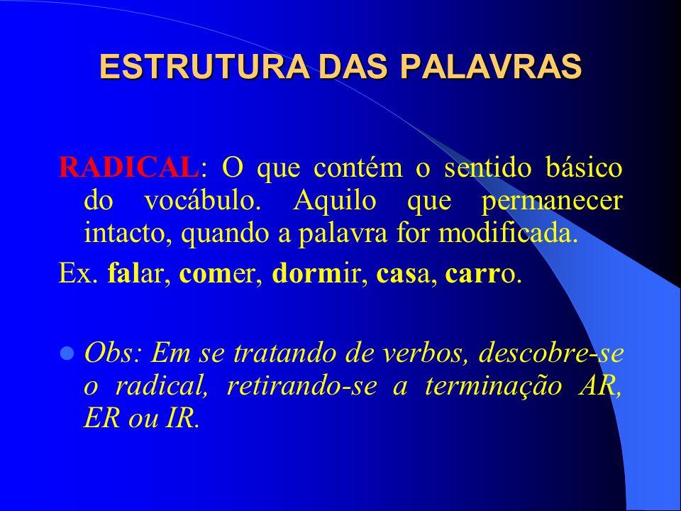 ESTRUTURA DAS PALAVRAS São os seguintes os morfemas da Língua Portuguesa: RADICAL AFIXOS VOGAL TEMÁTICA TEMA DESINÊNCIAS