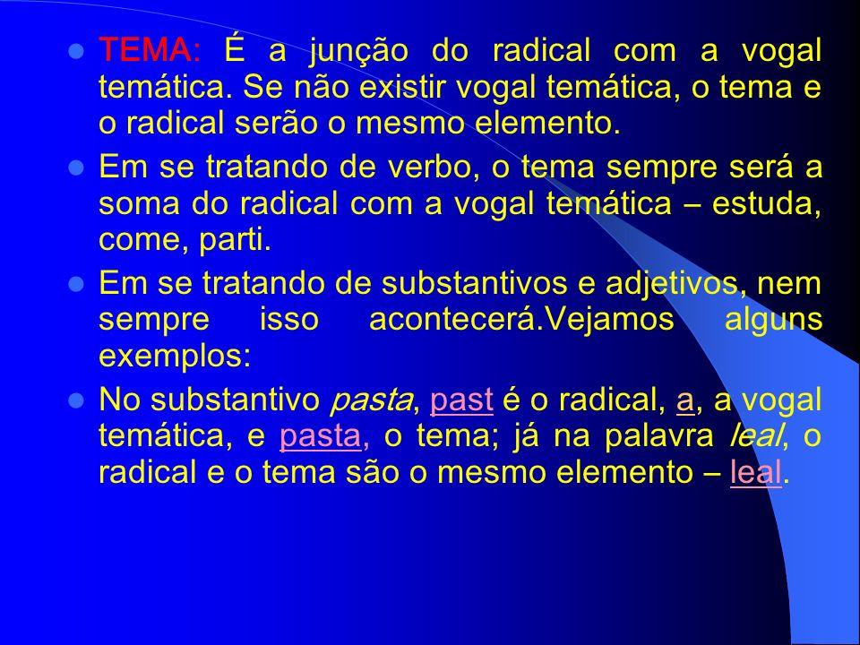 VOGAL TEMÁTICA: Nos verbos, são as vogais A, E e I, presentes na terminação verbal. Elas indicam a que conjugação o verbo pertence: 1ª conjugação = Ve