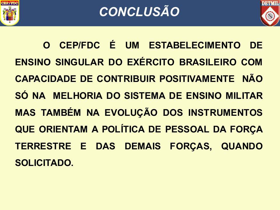 CONCLUSÃO O CEP/FDC É UM ESTABELECIMENTO DE ENSINO SINGULAR DO EXÉRCITO BRASILEIRO COM CAPACIDADE DE CONTRIBUIR POSITIVAMENTE NÃO SÓ NA MELHORIA DO SI