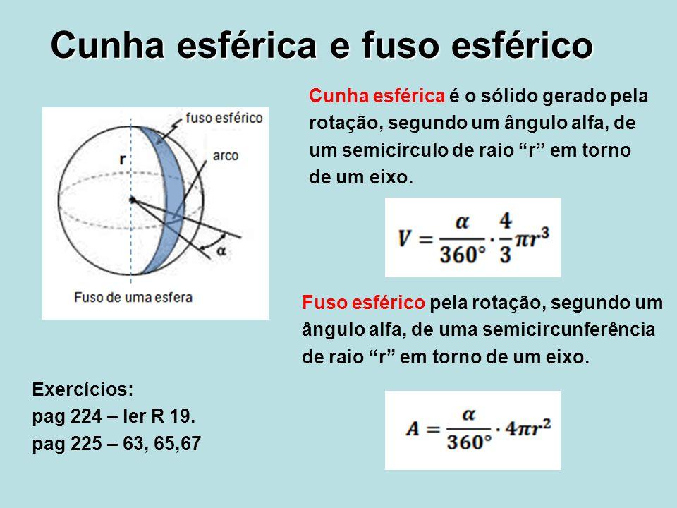 Cunha esférica e fuso esférico Cunha esférica é o sólido gerado pela rotação, segundo um ângulo alfa, de um semicírculo de raio r em torno de um eixo.
