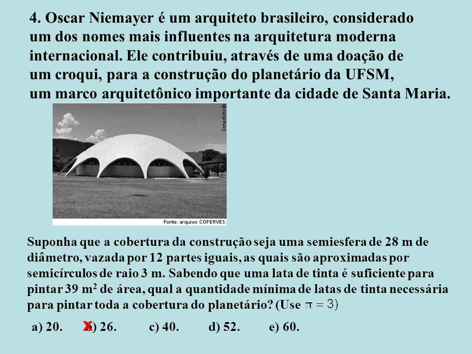 4. Oscar Niemayer é um arquiteto brasileiro, considerado um dos nomes mais influentes na arquitetura moderna internacional. Ele contribuiu, através de