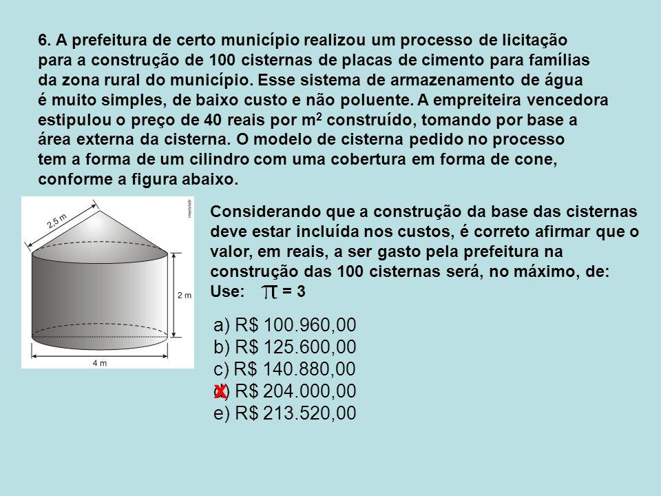 6. A prefeitura de certo município realizou um processo de licitação para a construção de 100 cisternas de placas de cimento para famílias da zona rur