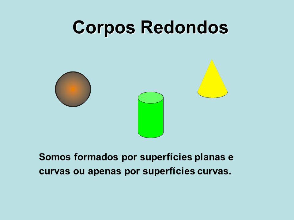Corpos Redondos Somos formados por superfícies planas e curvas ou apenas por superfícies curvas.
