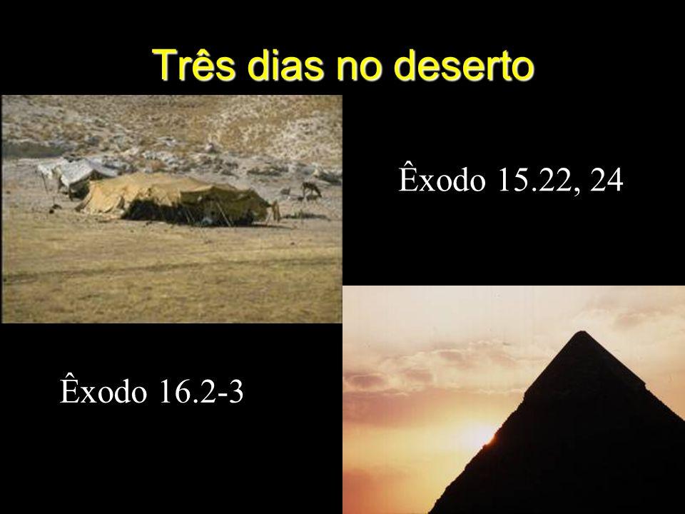 Três dias no deserto Êxodo 15.22, 24 Êxodo 16.2-3