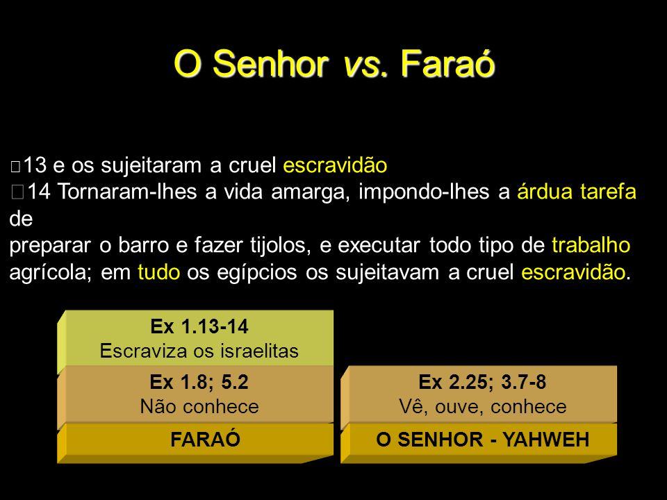 Ex 1.13-14 Escraviza os israelitas O Senhor vs. Faraó Ex 2.25; 3.7-8 Vê, ouve, conhece Ex 1.8; 5.2 Não conhece FARAÓO SENHOR - YAHWEH 13 e os sujeitar