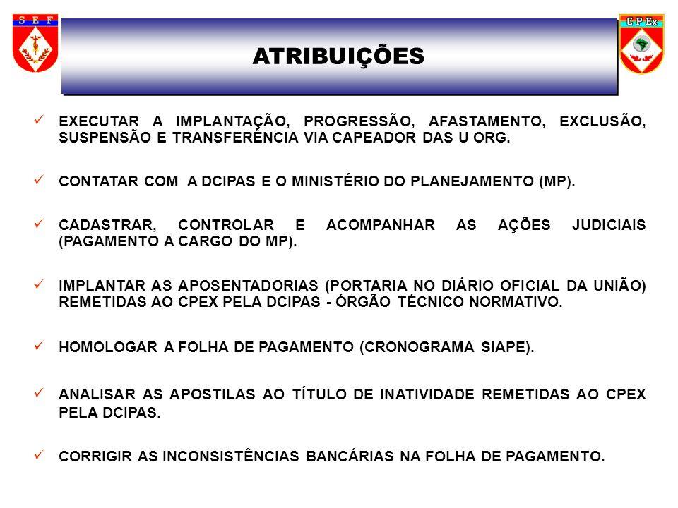 ATRIBUIÇÕES ANALISAR, IMPLANTAR E CONTROLAR O PAGAMENTO DO PROCESSO DE EXERCÍCIOS ANTERIORES.