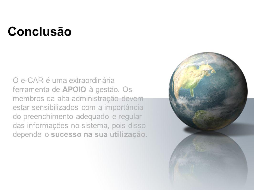 Conclusão O e-CAR é uma extraordinária ferramenta de APOIO à gestão. Os membros da alta administração devem estar sensibilizados com a importância do