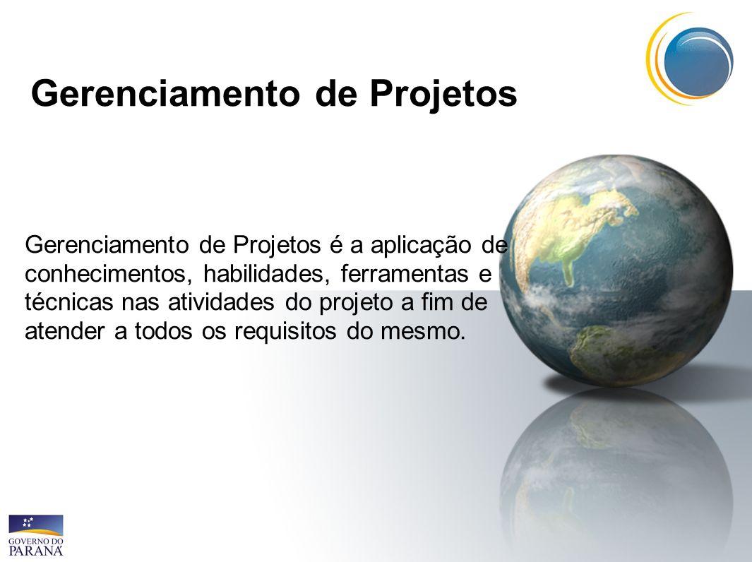 Gerenciamento de Projetos Gerenciamento de Projetos é a aplicação de conhecimentos, habilidades, ferramentas e técnicas nas atividades do projeto a fi