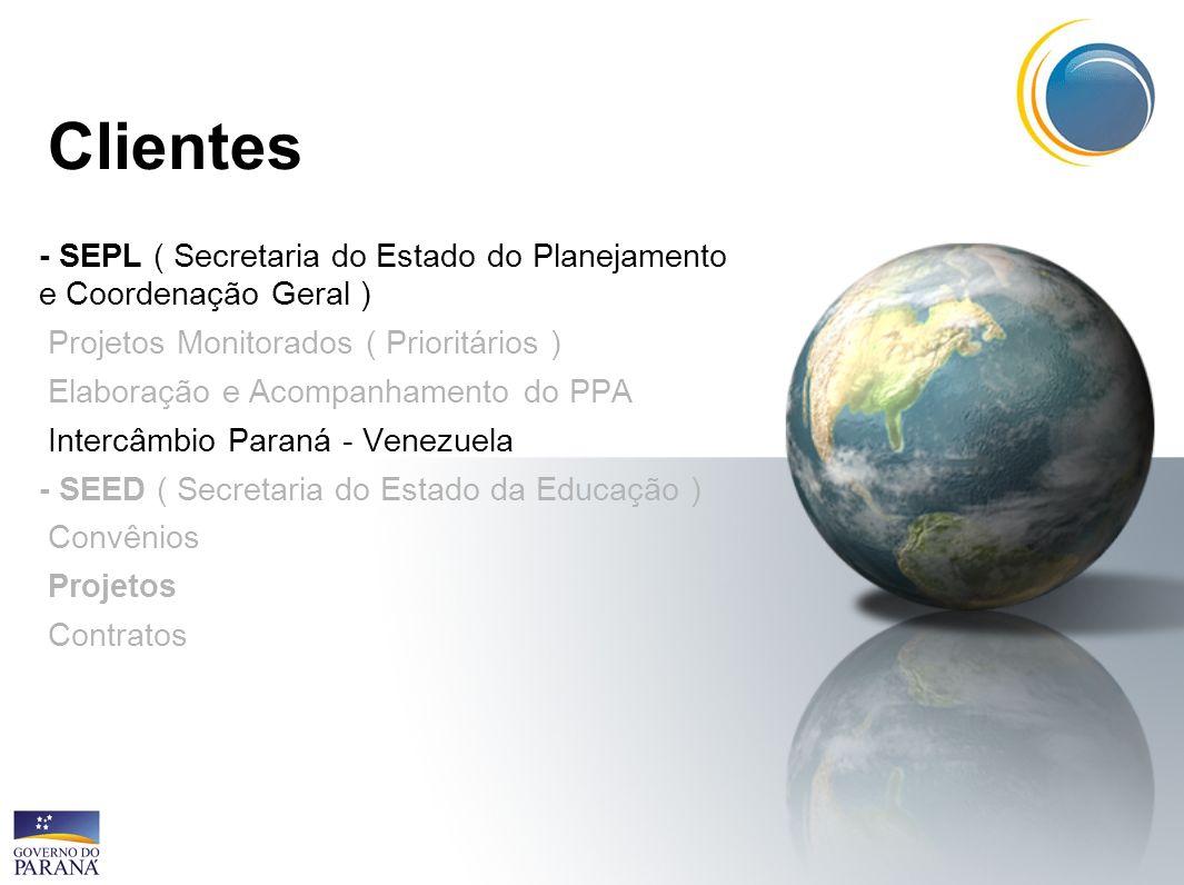 Clientes - SEPL ( Secretaria do Estado do Planejamento e Coordenação Geral ) Projetos Monitorados ( Prioritários ) Elaboração e Acompanhamento do PPA