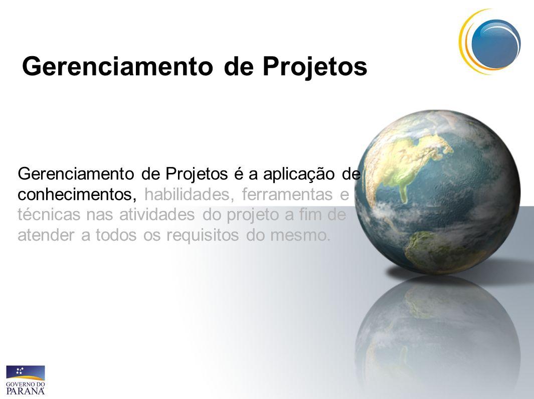 Gerenciamento de Projetos Gerenciamento de Projetos é a aplicação de conhecimentos, habilidades, ferramentas e técnicas nas atividades do projeto a fim de atender a todos os requisitos do mesmo.