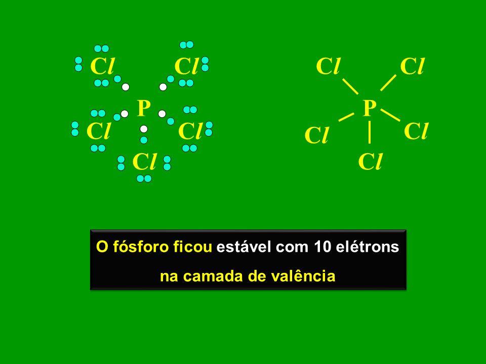 P ClCl ClCl ClCl ClCl ClCl P ClCl ClCl ClCl ClCl ClCl O fósforo ficou estável com 10 elétrons na camada de valência O fósforo ficou estável com 10 elé