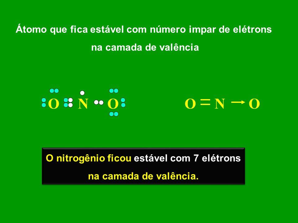 Átomo que fica estável com número impar de elétrons na camada de valência ONOONO O nitrogênio ficou estável com 7 elétrons na camada de valência. O ni