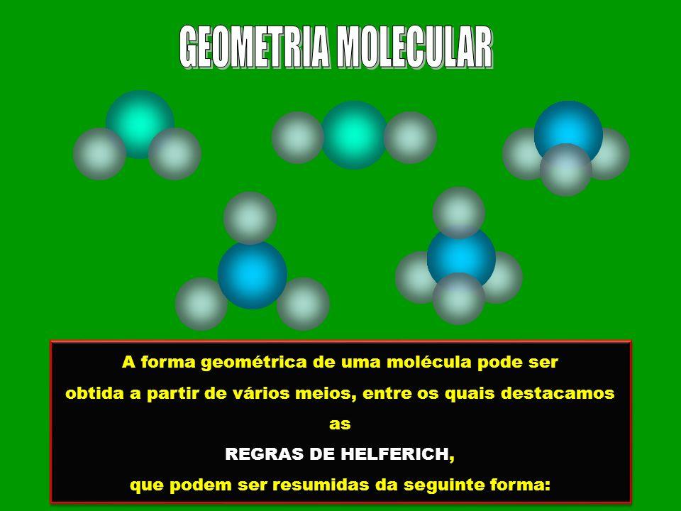 A forma geométrica de uma molécula pode ser obtida a partir de vários meios, entre os quais destacamos as REGRAS DE HELFERICH, que podem ser resumidas