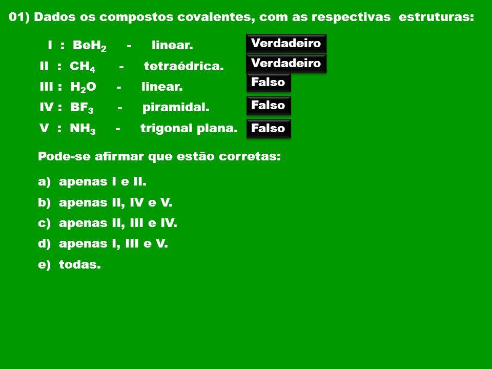 01) Dados os compostos covalentes, com as respectivas estruturas: I : BeH 2 - linear. II : CH 4 - tetraédrica. III : H 2 O - linear. IV : BF 3 - piram