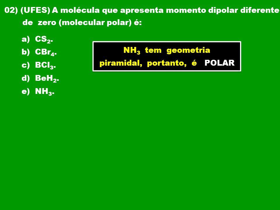 02) (UFES) A molécula que apresenta momento dipolar diferente de zero (molecular polar) é: a) CS 2. b) CBr 4. c) BCl 3. d) BeH 2. e) NH 3. NH 3 tem ge