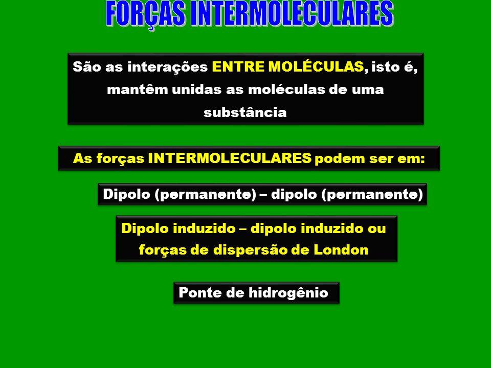 São as interações ENTRE MOLÉCULAS, isto é, mantêm unidas as moléculas de uma substância São as interações ENTRE MOLÉCULAS, isto é, mantêm unidas as mo